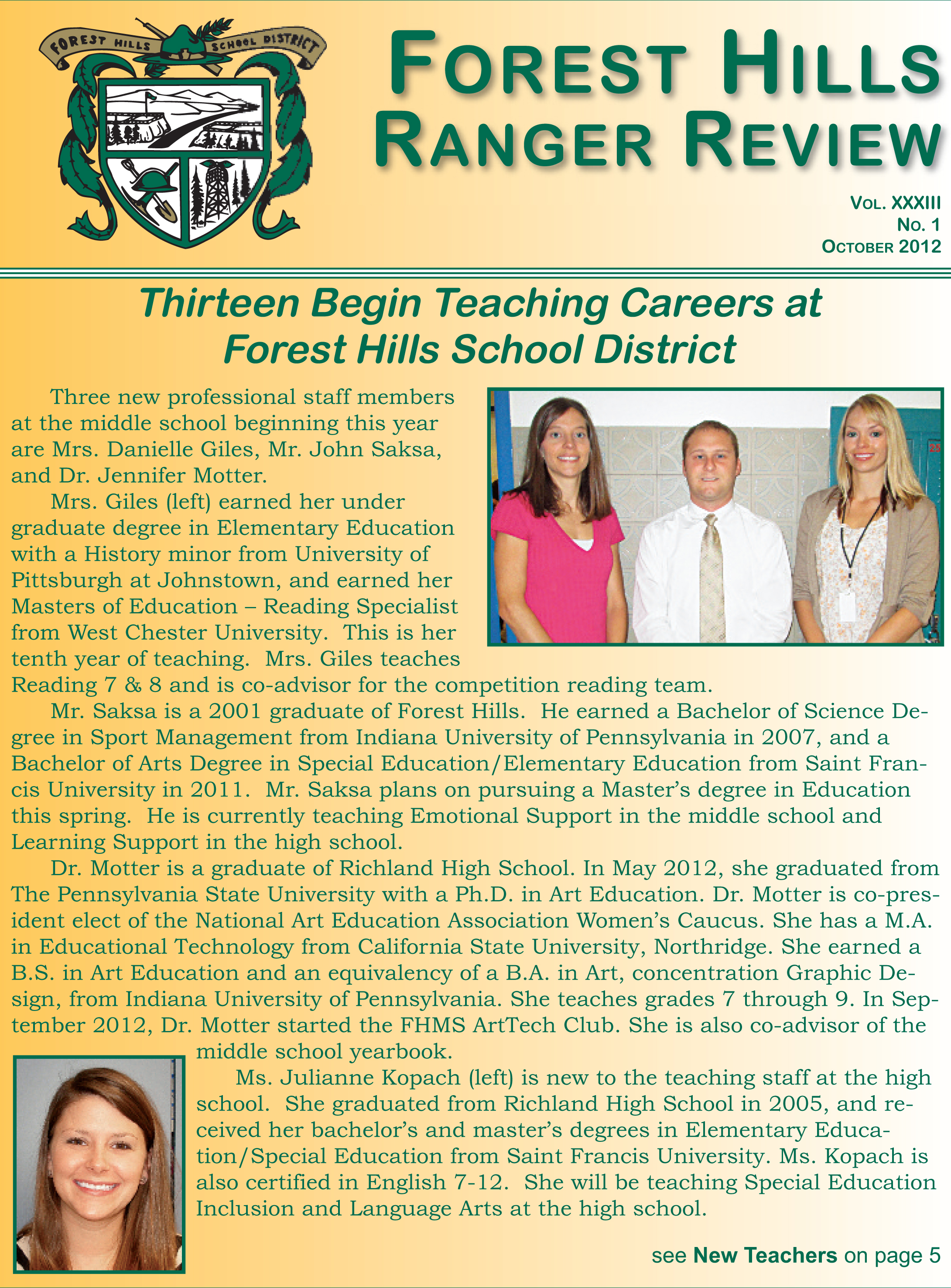 Fall Newsletter 2012-2013