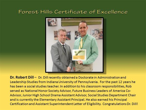 Dr. Dill Certificate of Excellence