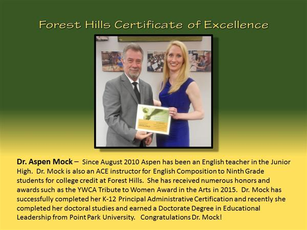 Dr. Mock Certificate of Excellence