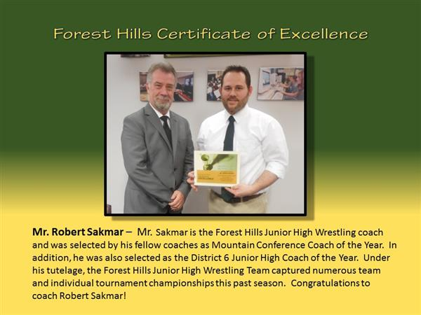 Mr. Robert Sakmar Certificate of Excellence