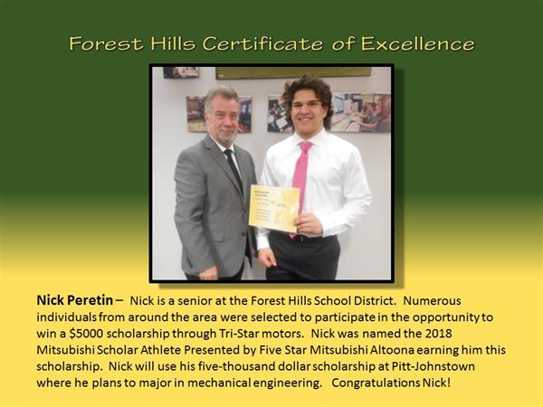 Nick Peretin Certificate of Excellence